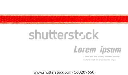 Red and gold gift bow and ribbon isolated on white background - stock photo