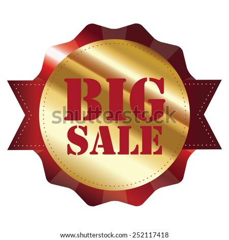 red and gold metallic big sale sticker, badge, icon, label isolated on white - stock photo