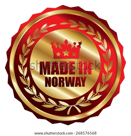 Red and Gold Metallic Made in Norway Badge, Label, Sticker, Banner, Sign or Icon Isolated on White Background