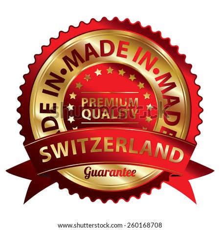Red and Gold Metallic Made in Switzerland Premium Quality Ribbon, Badge, Icon, Sticker, Banner, Tag, Sign or Label Isolated on White Background - stock photo