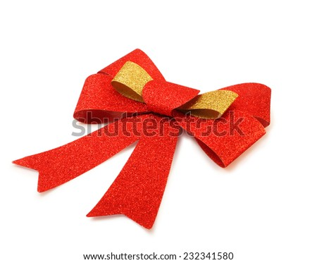 Red and gold ribbon isolated on white background - stock photo
