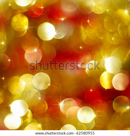 Red and golden abstract Christmas lights glowing - stock photo