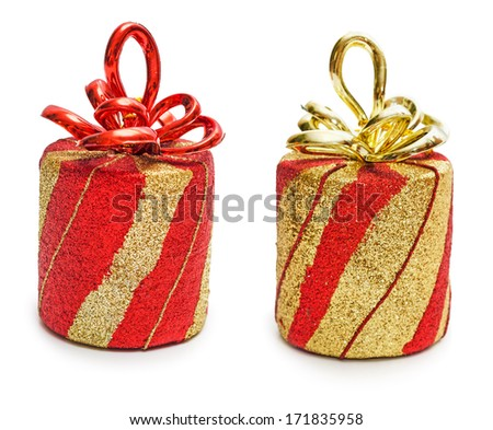 Red and golden present box with ribbon and bow isolated on the white background, clipping path included. - stock photo