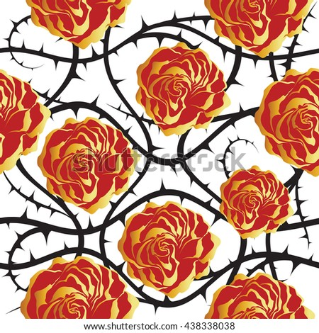 Red and golden roses. Seamless raster pattern.