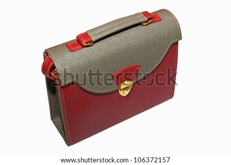 red and gray leather bag isolated on white background