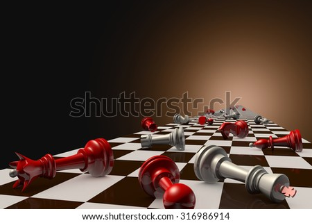 Red and gray pawn on the chessboard (lie randomly). Dark artistic background. - stock photo