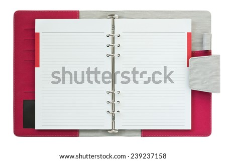 red and gray stripe leather cover of ring binder notebook - stock photo