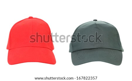 Red and Gray working peaked caps. Isolated on a white background.