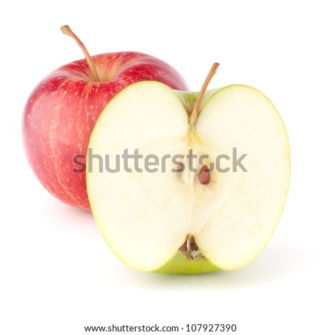 Red and green apple isolated on white background cutout
