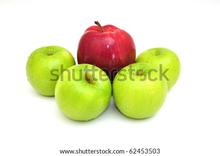 red and green apple on white isolated
