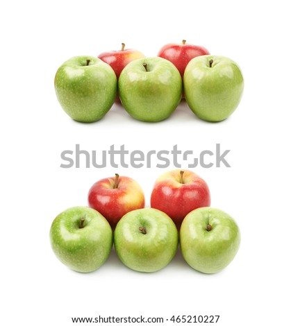 Red and green apples composition isolated over the white background, set of two different foreshortenings