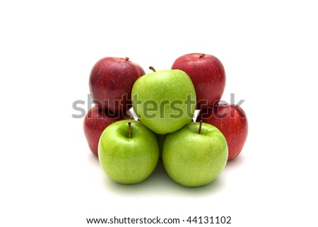 Red and green apples isolated on a white background.