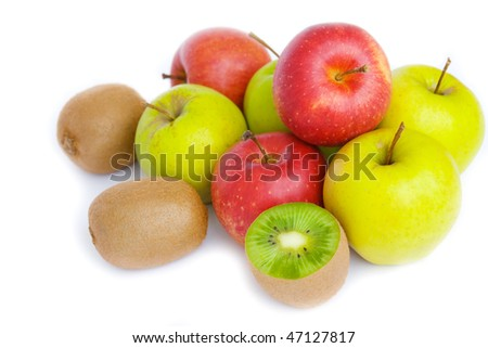red and green apples, kiwi fruit isolated on a white background