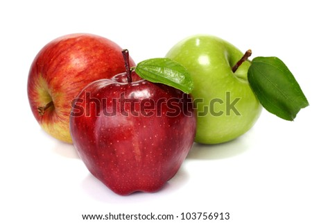 Red and green apples on white