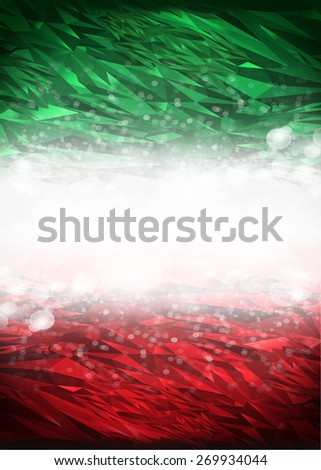 Red and green background ready for your text, Modern Mexico - Italy background - flag colors - stock photo