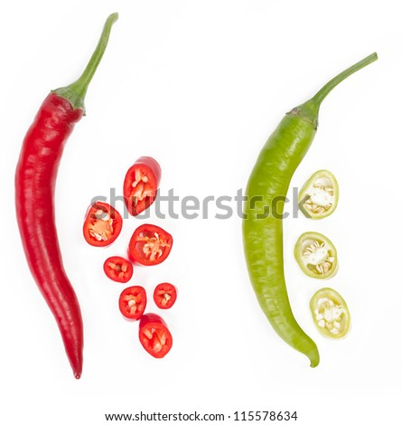 red and green chopped chili - stock photo