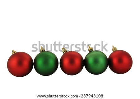 Red and Green Christmas Ornament isolated on White Background - stock photo