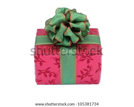 Red and Green Christmas Present - stock photo