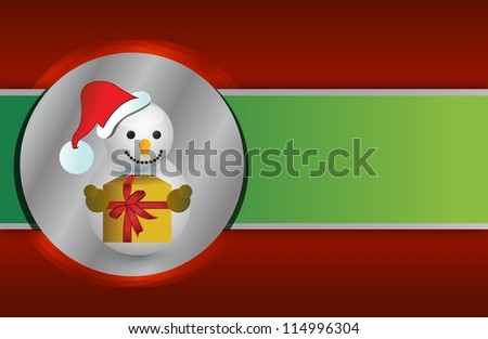 Red and green christmas snowman background design