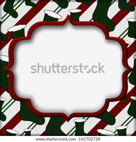 Red and Green Christmas Stockings with center for copy-space, Christmas Time Background - stock photo
