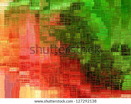 red and green frosted glass in a irregular square design