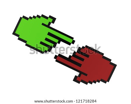Red and green hand pointer concept isolated on white background