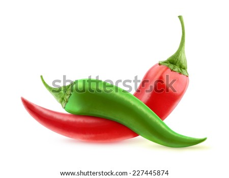 Red and green hot peppers isolated on white - stock photo