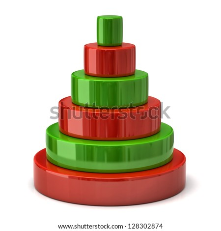 Red and green layer pyramid - stock photo