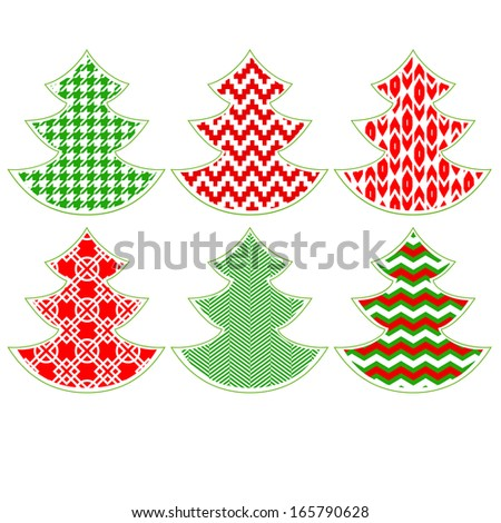 Red and green patterned Christmas trees on white collection. Raster version, editable file also available at my portfolio. - stock photo
