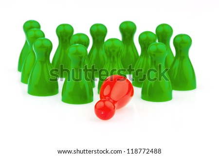 red and green pawns. bullying, loneliness and outsider in the team. - stock photo