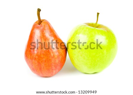 Red and green pear and apple, isolated on white background