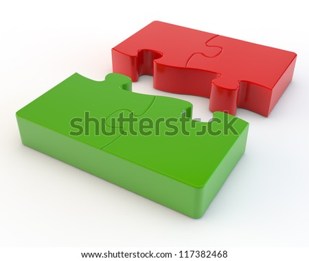 red and green puzzles aspiring to connection - stock photo