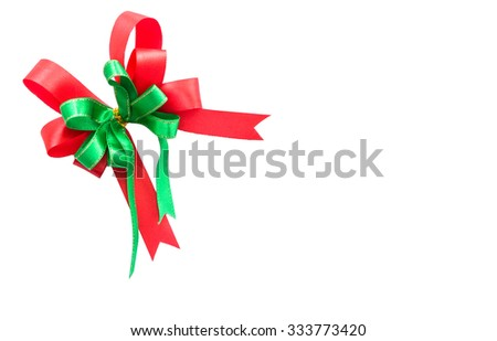 Red and green ribbon isolated on white background - stock photo