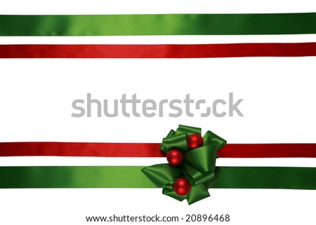 Red and green ribbons with bow, isolated, ready for overlay over a gift box - stock photo
