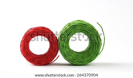 Red and green roll cords.