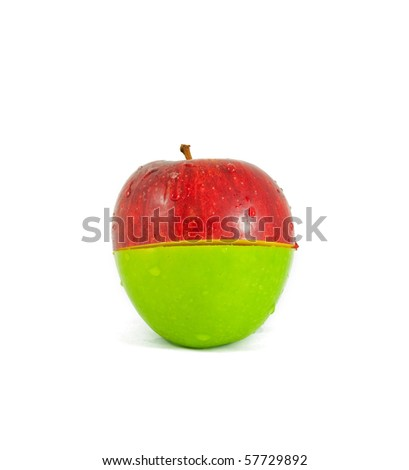 Red and green sliced apple - stock photo