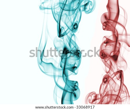 red and green smoke on white backgroud - stock photo