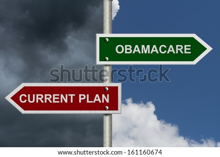 Red and green street signs with blue and stormy sky with words Current Plan and Obamacare, Current Plan versus Obamacare - stock photo