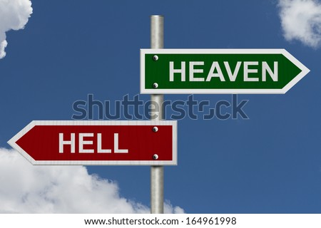 Blue sky with words heaven and hell heaven versus hell stock photo