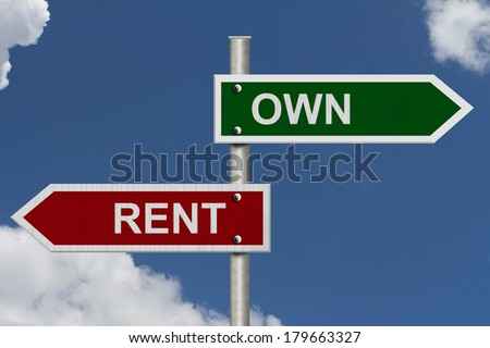 Red and green street signs with blue sky with words Own and Rent, Own versus Rent