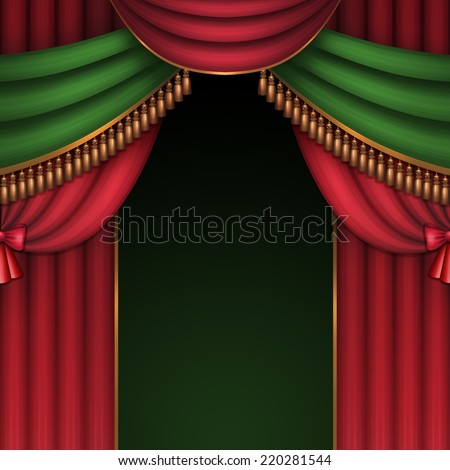 red and green theater or circus curtains with bows and tassels, Christmas performance background illustration - stock photo