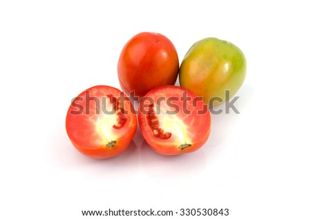 Red and green tomato slice