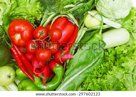 Red and green vegetables shaped as heart close-up