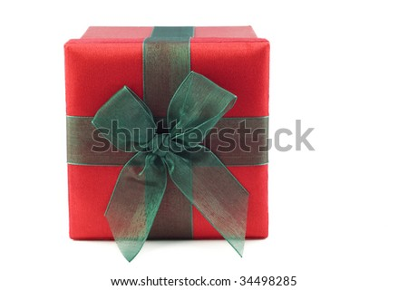 Red and green wrapped gift box with a box, isolated on white, horizontal with copy space