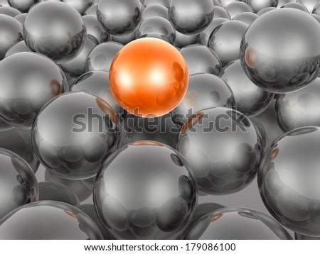 Red and grey spheres as abstract background.