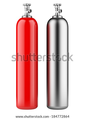 red and metallic propane cylinders with compressed gas isolated on a white background - stock photo