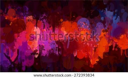Red and orange brush strokes background. Raster version - stock photo