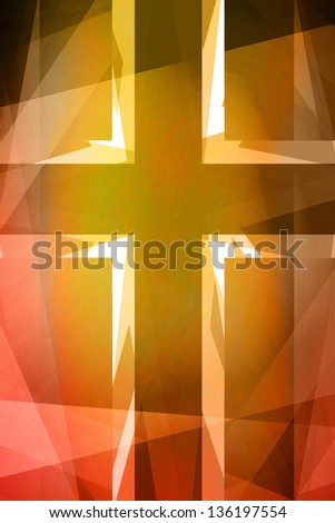 Red and orange religious cross background - stock photo