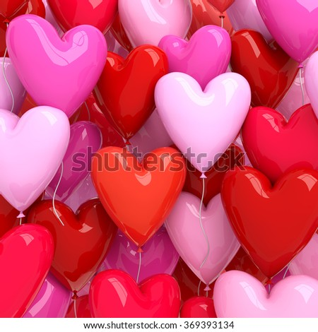 Red and pink balloons background - stock photo