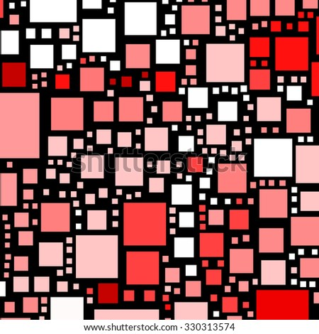 Red and pink colour squares on a black background.